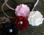 Fabric Flower Headband with Pearl ELLE- MINI choose from 18 colors Skinny Thin Elastic Simple Photo Prop