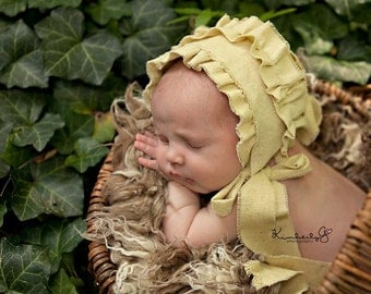 GWEN- Ruffled Yellow Newborn Fabric Bonnet. Vintage Style. Baby Girl. Photo Prop. Shabby Chic.