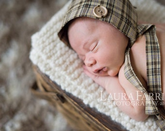 Newborn Boy Hat. Newborn Boy Bonnet. Plaid Boy Fabric Bonnet. Vintage Style. Baby. Infant. Photo Prop. BOWEN. Tolola Design.