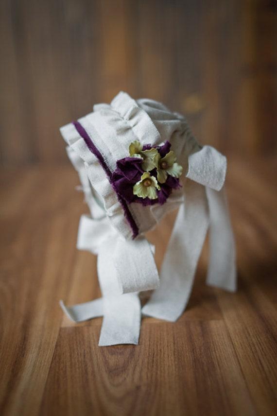 ELISE- Fabric Bonnet. Vintage Style. Cream Linen. Purple. Shabby Chic. Photo Prop. Newborn Baby Girl