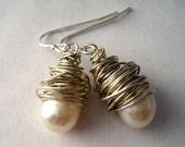 Handmade Sterling Silver Wrapped Pearl Earrings