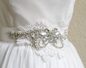 Beaded Alencon Lace Bridal Sash VIOLA in Bridal White with Crystals