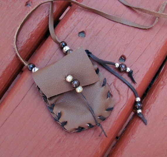 Real Deer Leather and Bone Hand Made Medicine Bag Pouch