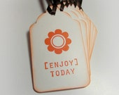 Enjoy Today  Handstamped  Gift tags( Set of 8) by LittlePinkKangaroo