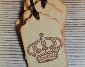 Crown - Hand stamped Gift tags Hand tags Vintage Inspired ( Set of 6) by LittlePinkKangaroo