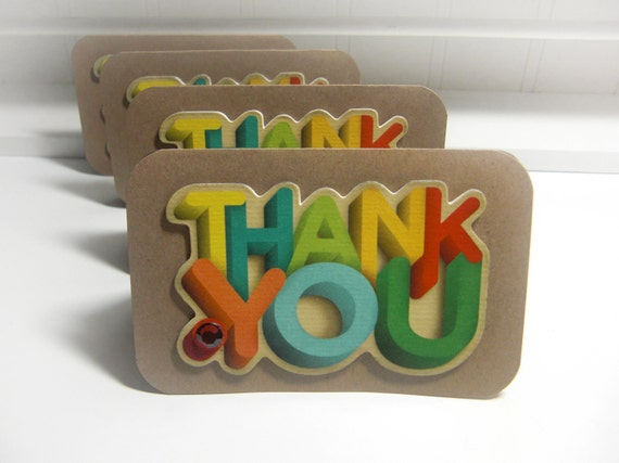 Thank You - UpCycled Recycled-  Blank Inside  Mini Cards  (Set of 4)  by LittlePinkKangaroo
