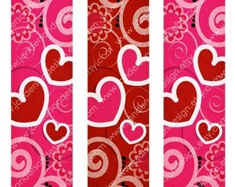 Heart Bookmarks - 5.5x1.5-inch Bookmark Digital Printable for Paper Crafts