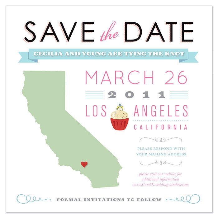 Personalized State Save The Date Email Wedding Save The Date