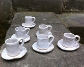 Set of 6 White Espresso Cups & Saucers