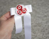 Brooch White Red Award ribbon embroidered felt sequin