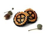 Earrings Orange Black sequins Embroidered felt