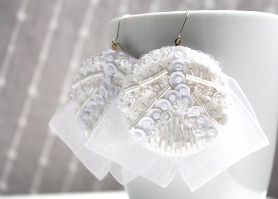 White earrings Bridal embroidered felt ribbon