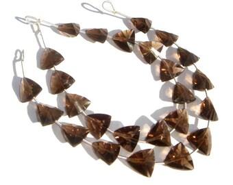 Smoky Quartz Concave Cut Trillion Semi Precious Gemstone Beads (Quality AAA) / 11 Pieces / CODE 566
