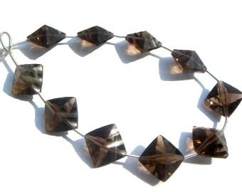 Smoky Quartz Concave Cut Cushion Semi Precious Gemstone Beads (Quality AAA) / 8 Pieces / CODE 643