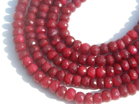 Ruby Faceted Roundel Precious Gemstone Beads (Quality A) / 35 Pieces / CODE 38