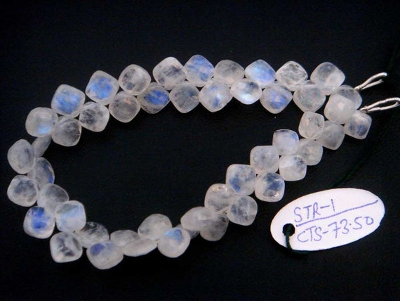 Rainbow Moonstone Faceted Cushion Semi Precious Gemstone Beads (Quality A) / 44 Pieces / CODE 397