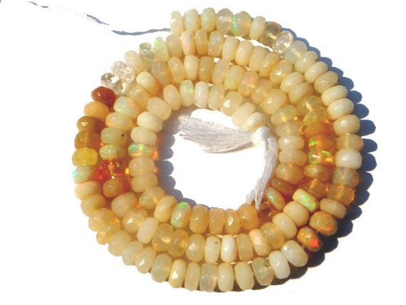 Ethiopian Opal Faceted Rondelles Semi Precious Gemstone Beads (AA) / 135 Pieces / CODE 18