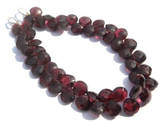 Garnet Faceted Heart Semi Precious Beads (Quality B) / 59 Pieces / CODE 343