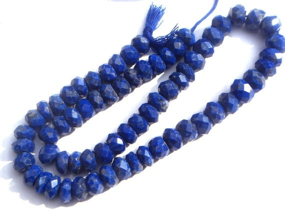 Lapis Lazuli Faceted Roundel Semi Precious Gemstone Beads (Quality A) / 64 pieces / CODE 374