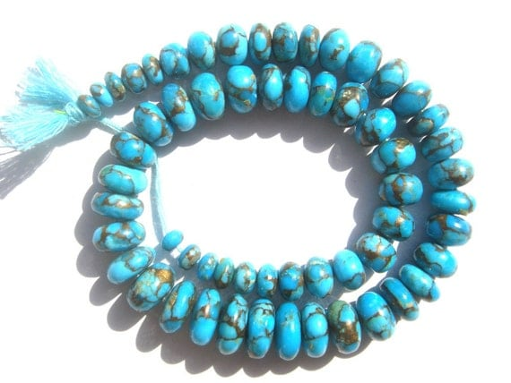 Copper Turquoise Smooth Roundel Semi Precious Gemstone Beads (Quality AAA) / 56 Pieces / CODE 424