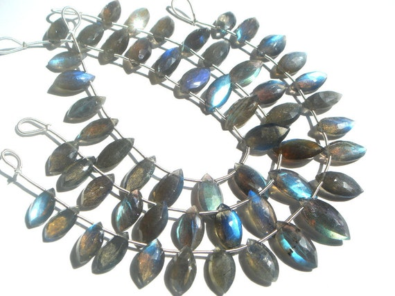 Labradorite Faceted Marquise Semi Precious Gemstone Beads (A) / 18 Pieces / Product Code 579