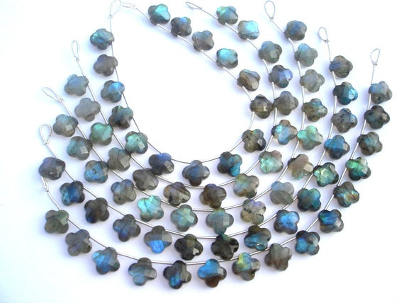 Labradorite Faceted Flower Semi Precious Gemstone Beads (Quality B) / 15 Pieces / Product Code 720