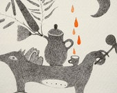 Graphite Pencil Drawing, Fox, Surreal Illustration, Cup of Tea Art, Moon Ornament, Plants, Rain, Dog, Romanian Souvenir, Weird, Original