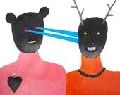 Weird Pencil Drawing, Couple Illustration, Love Art, Strange Relationship Drawing, Love at First Sight, Liebe auf den ersten Blick by Harem6