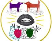 Geometry Art, Two Foxes Original Drawing, Fox, Purple and Orange Art, Triangles, Wall Decor, Romanian Hanging Wall Art, I Love You, Couple