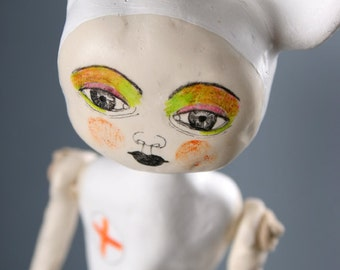 Nurse Art Doll, Hanging Clay, Red Cross Inspired, Ceramic Sculpture, Figurine with Mouse Ears, Mixed Media