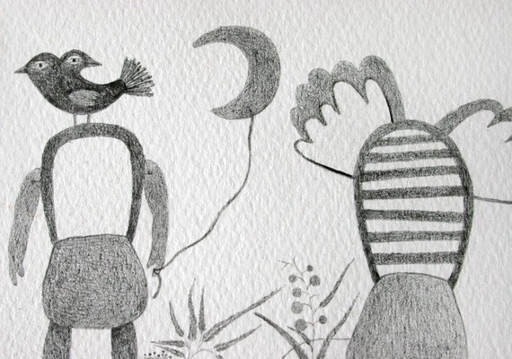 Original Surreal Pencil Drawing, Whimsical Art, Strange Creatures, Nature, Bird, Plants , Couple Illustration, 植物アート, 植物藝術, 月亮藝術, Zeichnung