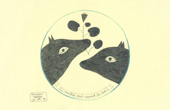 Two Dogs in Love / Friends Forever - ORIGINAL DRAWING - I Wanted That Moment To  Last