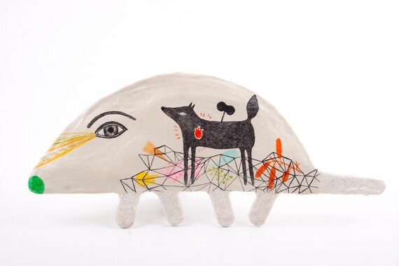 Mixed Media Clay Animal Art Object Wall Decor - You Took My Heart