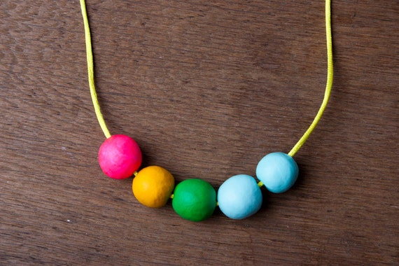Pink Yellow Blue Green Beaded Clay Necklace