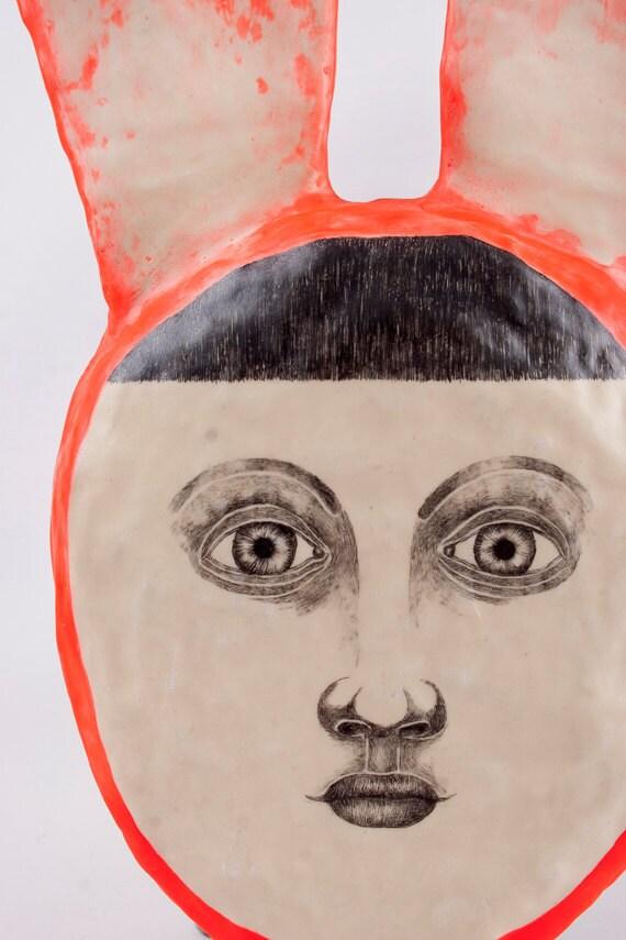 Mixed Media Rabbit Portrait Clay Wall Art Drawing - Atomic Boy