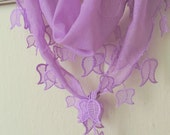 Turkish Fabric Fringed LAVANDER Guipure  Scarf ..bandana,headband,wedding,bridal,authentic, elegant, fashion