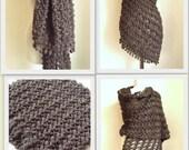 Crochet Hand Dark MINK-DARK SOIL ,soil color shimmery shawl ,wedding bridal shawl. fashion,shrug,stole, capelet, women, scarflette,