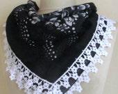 Traditional Turkish Yemeni scarf- BLACK-WHITE Scarf ..cotton scarves
