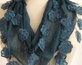 EMERALD Guipure  Scarf..authentic, romantic, elegant, fashion,party,wedding,bridal