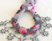 YEMENI  necklace hot pink,amarant,dark blue, multicolor, romance ,valentine