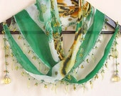 GREEN  Turkish Oya  Scarf,authentic, romantic, elegant, fashion,weddings,bridal,vintage,spring,summer