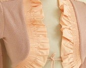 Deep Champagne,Deep Peach, Salmon-Crochet  Shrug - Soft Elegant  Bridal Shrug Bolero