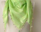green scarf - cotton scarf - Oya Scarf - scarf fashion - floral scarf -scarf accessories -scarf sale