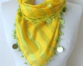 Tringle YELLOW-Green Yemeni Oya Cotton Scarf .,authentic, romantic, elegant, fashion