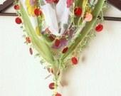 GREEN  Multicolor Turkish Oya Scarf,authentic, romantic, elegant, fashion,weddings,bridal,vintage,rustic