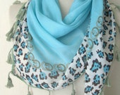 Turquoise - Aqua - Tasseled Tringle scarf - Turkish Yemeni Scarf -women blue scarf