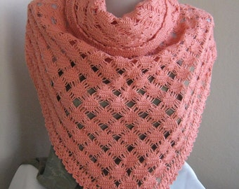 Unique Tea rose (orange) Mercerized shawl / Wedding Shawl / Bride Shawl / Bridal Shawl / Shrug