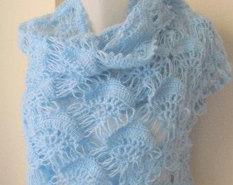 Crochet shawl //  Blue shawl // LIGHT BLUE shawl  tringle shawl // warm wrap