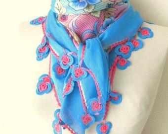 Square scarf - Plum-Aqua Blue -Dark Purple - hijab scarf - turban - muslim scarf
