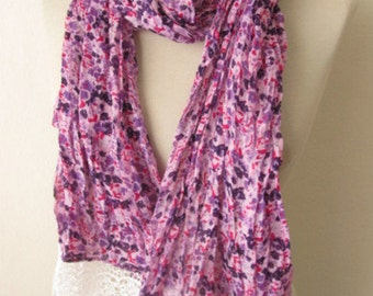 Fabric scarf  Rectangle scarves  Guipure Scarf ..authentic, romantic, elegant, fashion